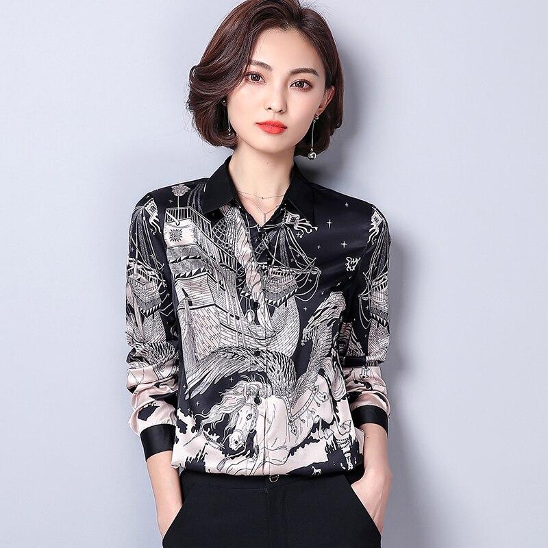 2019 primavera camisas para mujer estampado manga completa ajustado de seda sintética satén negocios atuendo Ol blusa diseño y Color 9479