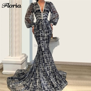 Sparkly Glitter Mermaid Evening Dresses For Weddings 2019 Arabic Couture Islamic Prom Gowns Aibye Long Party Dress Abendkleider