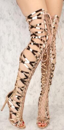 Sexy botas de encaje por encima de la rodilla gladiador mujeres sandalias botas moda oro Cruz-tie señora botas largas de gran tamaño sandalias
