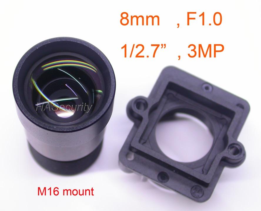 "Luz de estrella F1.0 aparture 8mm lente 3MP 1/2. 7 ""Formato para sensor de imagen IMX327, IMX307, IMX290, IMX291 Cámara Módulo de placa PCB F1"