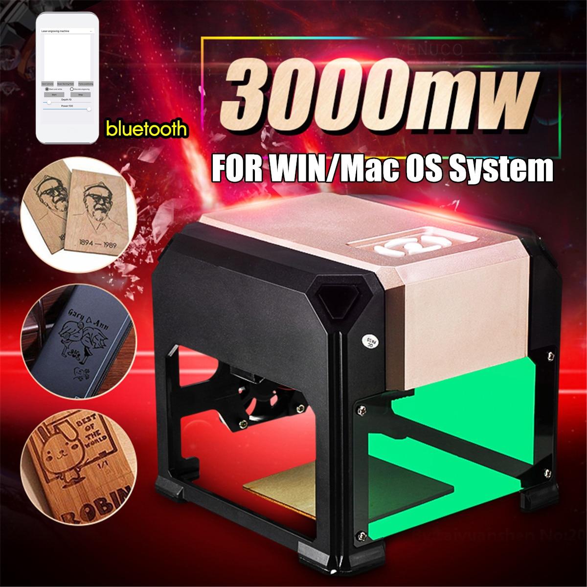 Actualización Bluetooth Mini 3000MW oro máquina de grabado láser CNC AC 110-220V DIY grabador escritorio madera Router/cortador/impresora