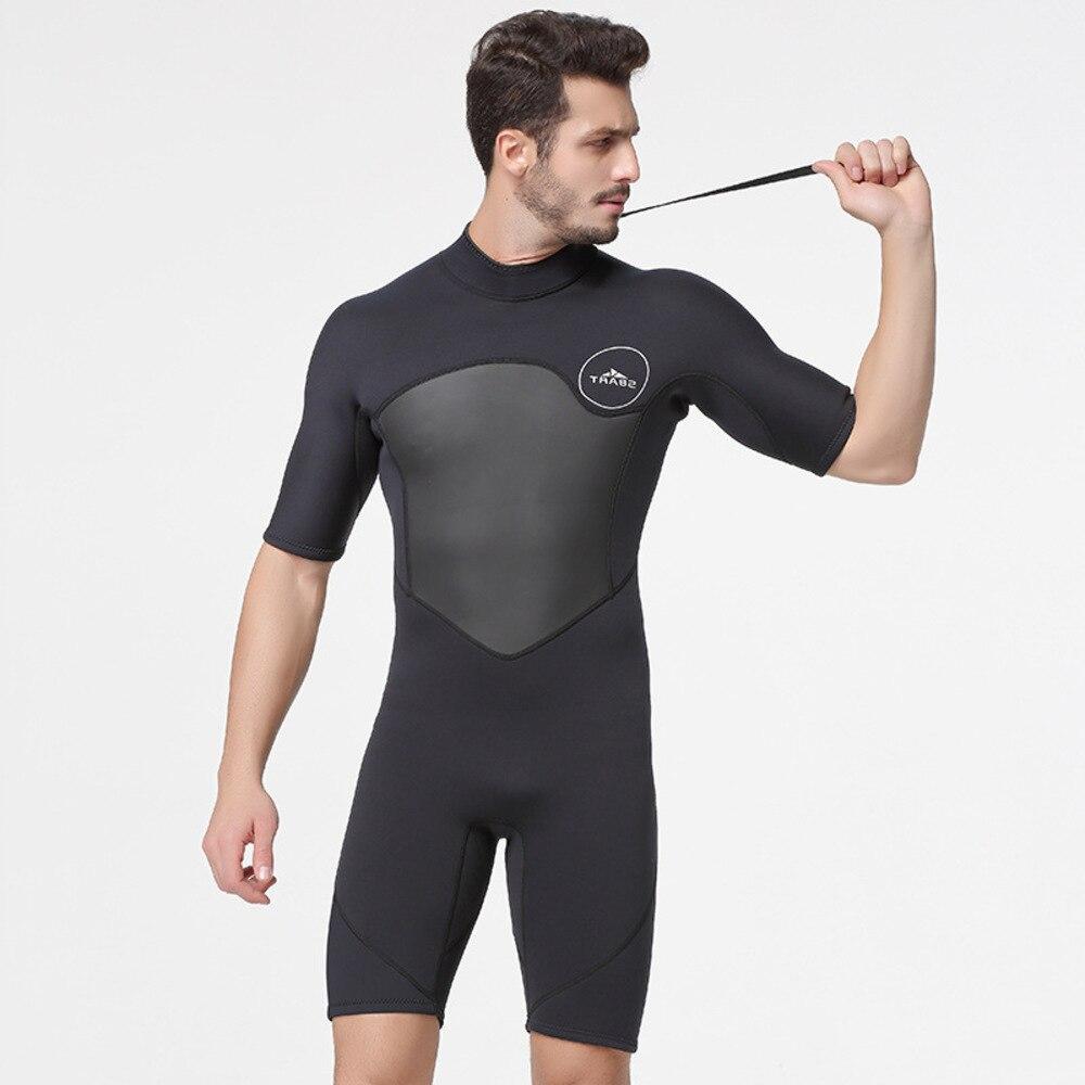 2 MM One Piece Wetsuit Man Half Sleeve Keep Warm Cold Take Prevent UV Surfing Winter Swimming Snorkeling Neoprene Spearfishing