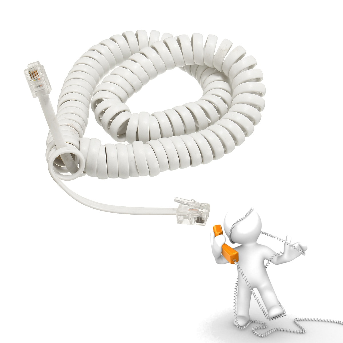 2M negro blanco RJ10 4P4C en espiral Modular Cables de teléfono de alambre casa Oficina Hotel llamada entrante LCD Display teléfono fijo