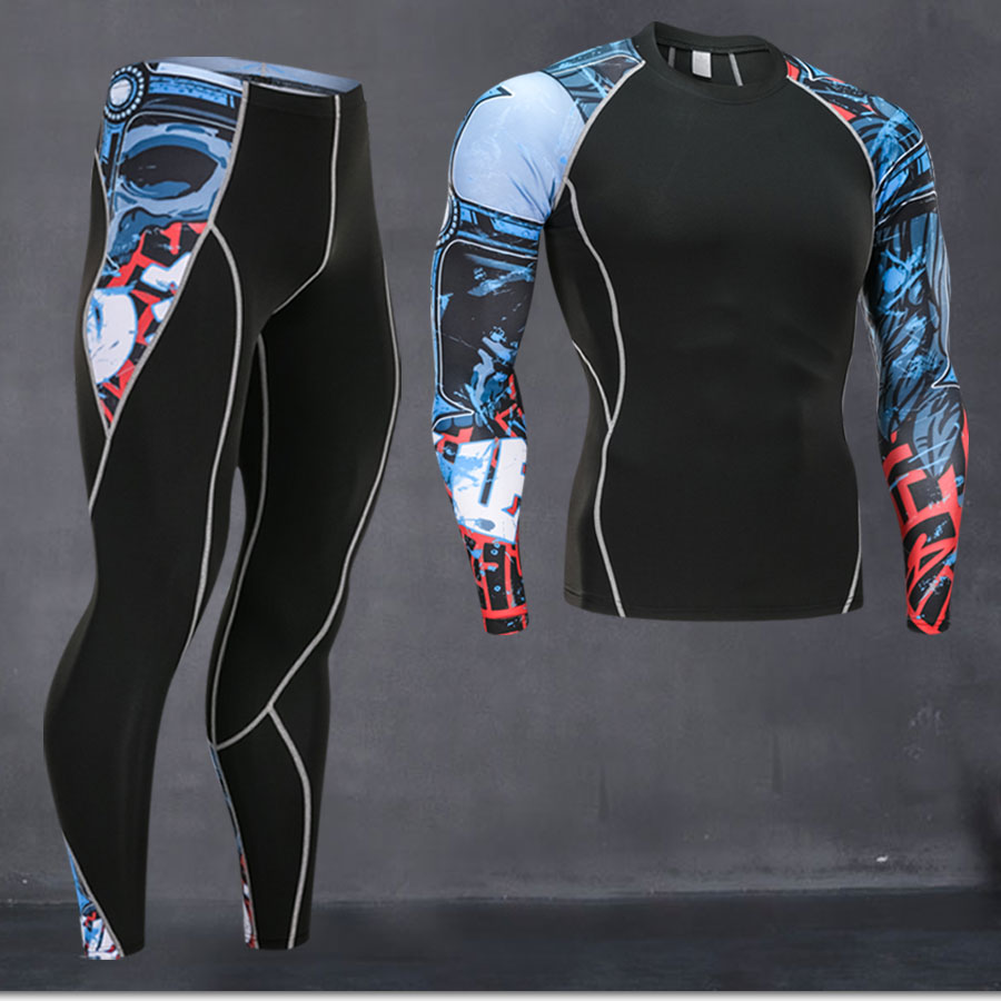 Top quality new thermal underwear men underwear sets compression fleece sweat quick drying thermal u