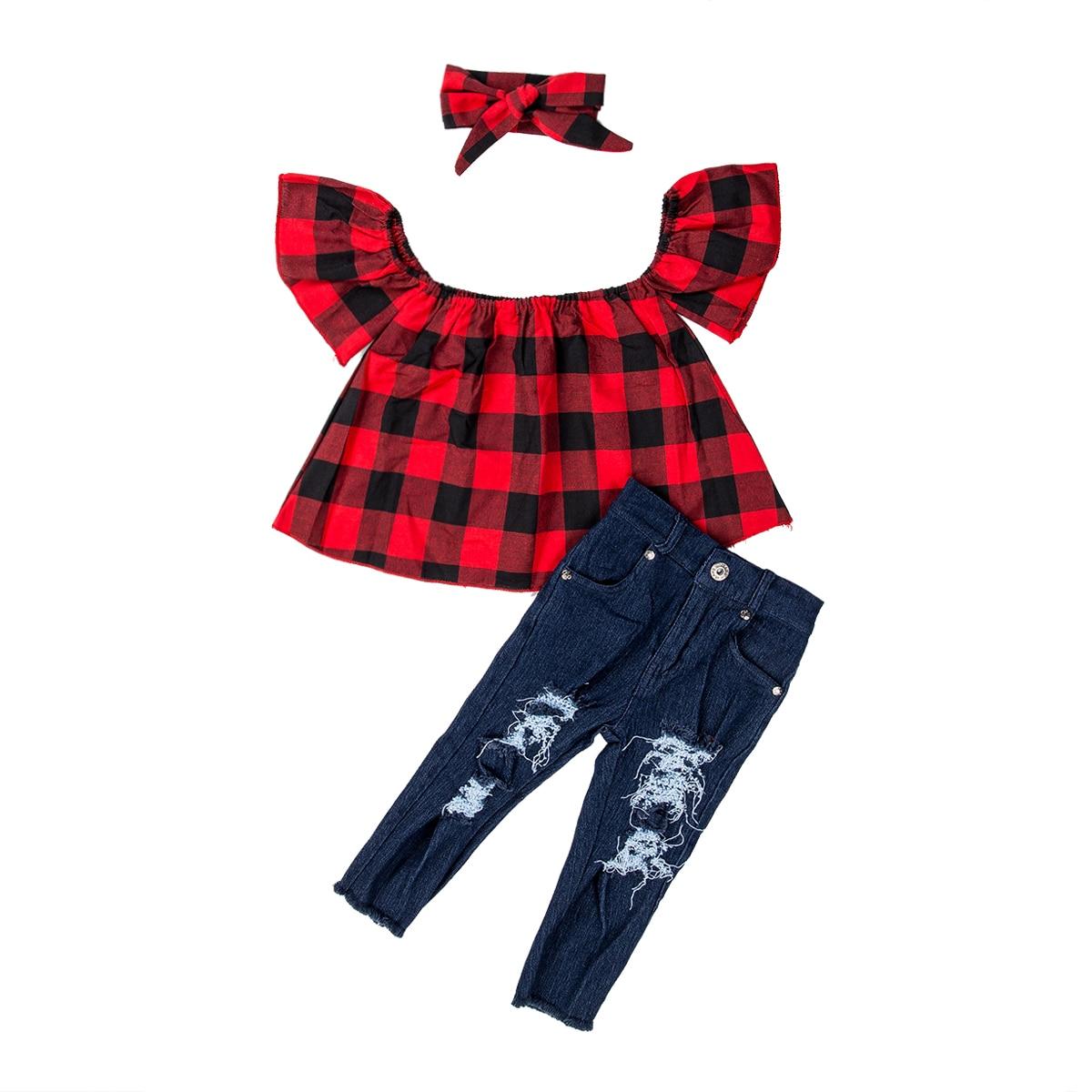 2-7Y niños pequeños bebé niña de hombro Plaid Tops rasgados pantalones vaqueros 2 piezas trajes Niñas Ropa conjunto