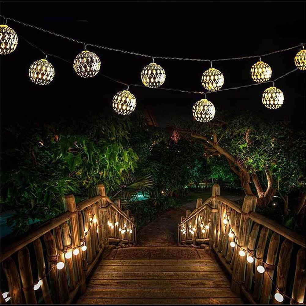 Guirnalda de luces alimentada por energía solar al aire libre de 4,8 m Bola de linterna marroquí 20 LED iluminación nocturna impermeable para decoración navideña de jardín