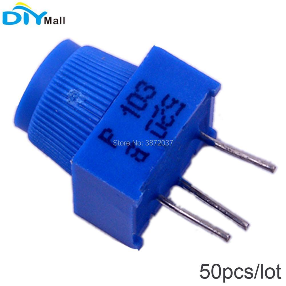 50 unids/lote 3386P-1-103 potenciómetro de ajuste 10 K Ohm con perilla 3Pin resistencia de ajuste Vertical de alta precisión