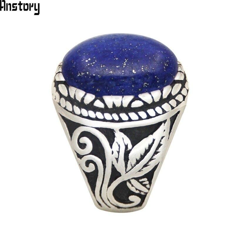 Oval lapis lazuli anéis de aço inoxidável natural pedra folha planta jóias moda vintage tr730