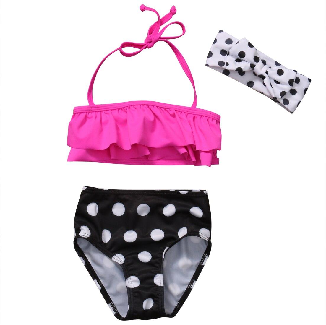 1-6Y Summer Toddler Kids Baby Girl Ruffles Strap Tops Polka Dot Shorts Headband Bikini Set Swimwear Beachwear Bathing Suit 3PCS