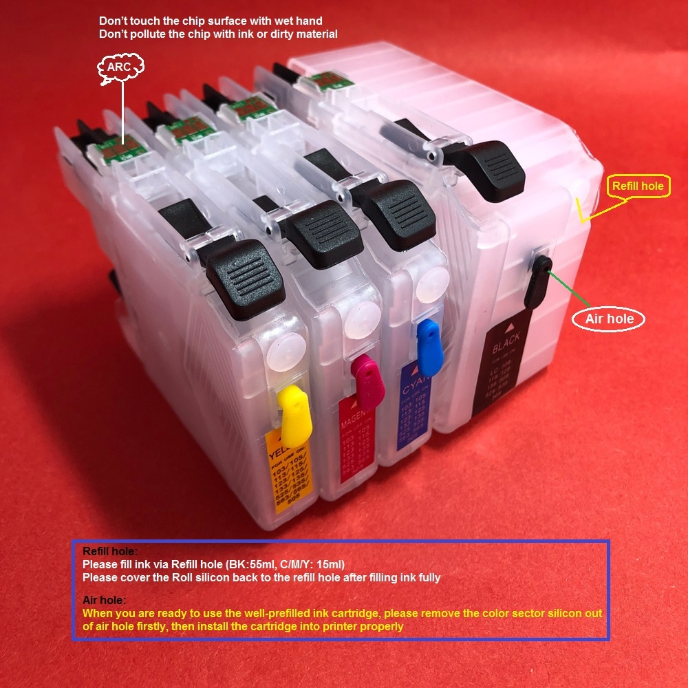 YOTAT cartucho de tinta rellenable LC109 LC105 LC 109XL 105XL hermano MFC-J6520DW MFC-J6720DW MFC-J6920DW