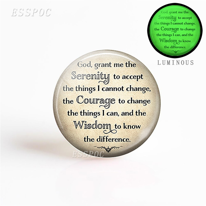5pcs/set Making Luminous Keychain Necklace Glass Dome God Quote Fashion Serenity Prayer Religion Jewelry Gift Charm Pendant the hottest happiness can be found pendant necklace dumbledore quote j k rowling porter charm gift jewelry pendant xkhlhj