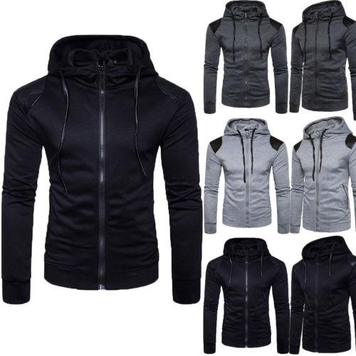 2019 nueva moda hombres adultos con cremallera Fleece Hoodie encapuchado chaqueta Jumper básica lisa caliente