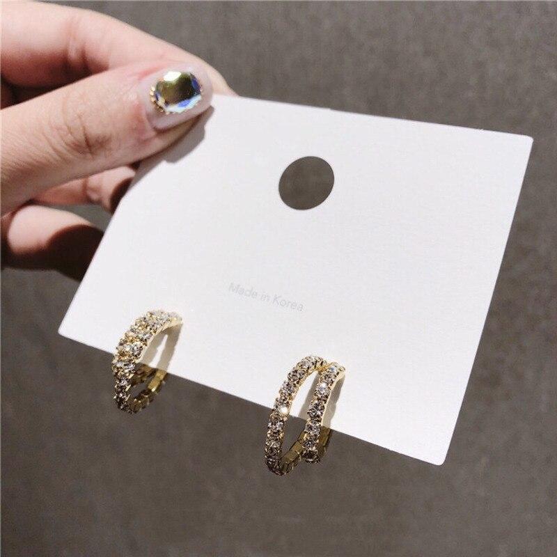 2020 NewKorean Women Earrings Full Crystal Earrings Double Circle Hoop Earrings C Shaped Shiny Party wedding Jewelry Girl Gifts