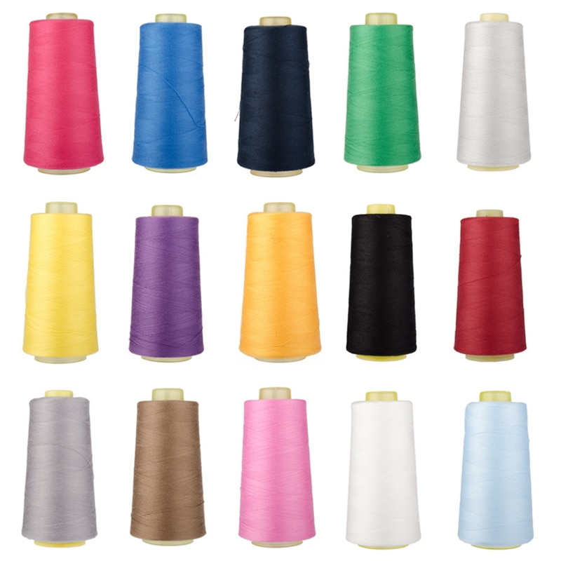 3000 yardas de longitud hilo de coser 40S/2 hilos hilo de poliéster carrete Multicolor accesorios de costura