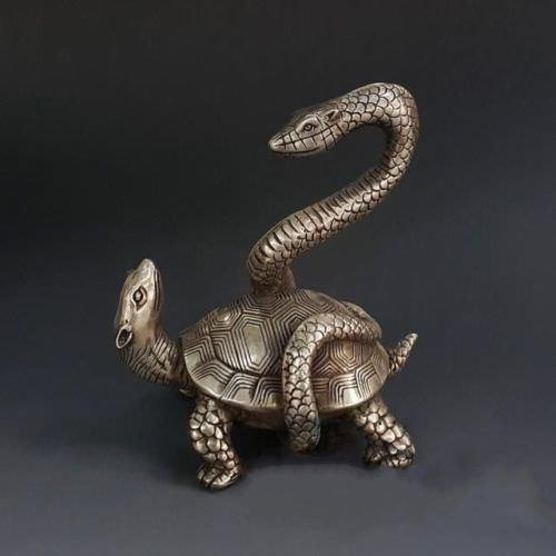 Estatua China feng-shui tradicional de plata Animal serpiente tortuga Xuanwu