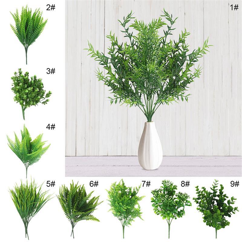 7 вилок водная трава эвкалипта пластиковые искусственные растения зеленая трава пластиковые цветы, растения Свадебные Декорации для дома