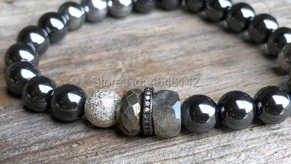 Boho Chic Hematite Beads Stretch Bracelet Pave CZ Silver Plated Round Beaded labradorite Stack Bracelet