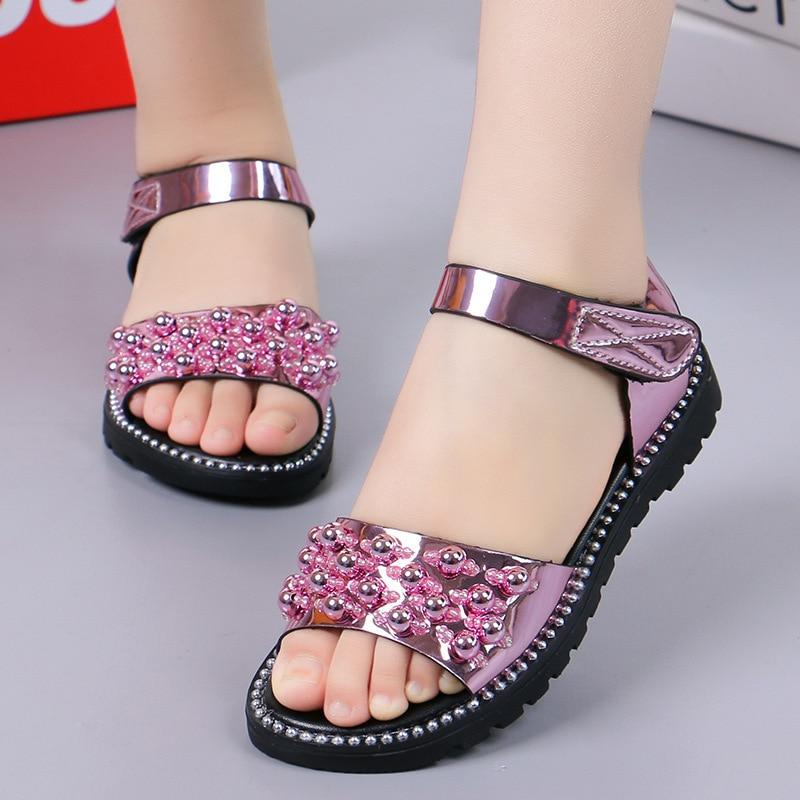 2019 hot girls sandals fashion shiny rhinestone girls shoes children flat sandals children sandals