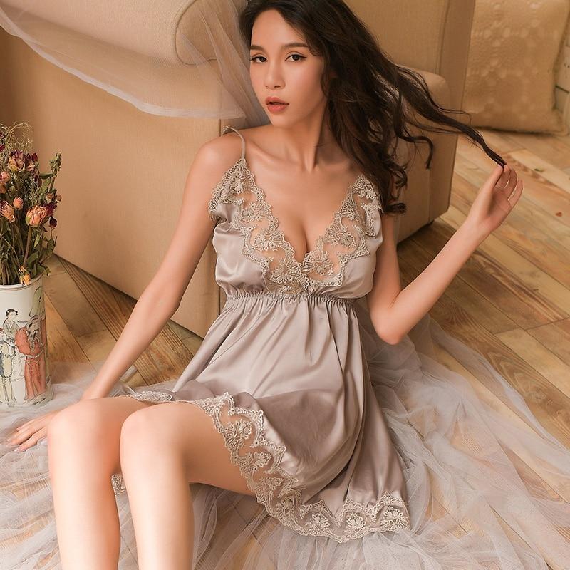 Night Sleep Dress Nighties for Women Underwear Lingerie Sling Lace Embroidery V-Neck Sexy Nightdress Lenceria Femenina