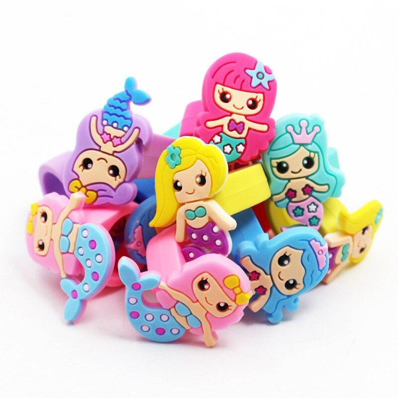 20 pçs/lote cores princesa pequena sereia silicone dedo anel crianças festa de aniversário traje festival takeaways favor goodie