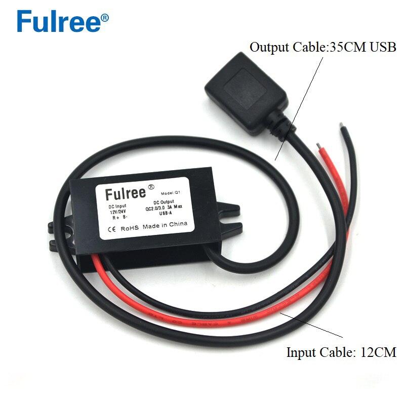 12V a 5V DC-DC reductor convertidor Buck regulador de voltaje cargador de telefono de coche USB de carga rápida 3,0 Cable de carga de la tableta