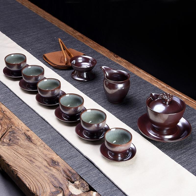 Taiwán hogar Kung Fu té han traje japonés con hervidor de agua un conjunto completo de la caja de regalo tetera taza de té de montaña lado espera hervidor de agua