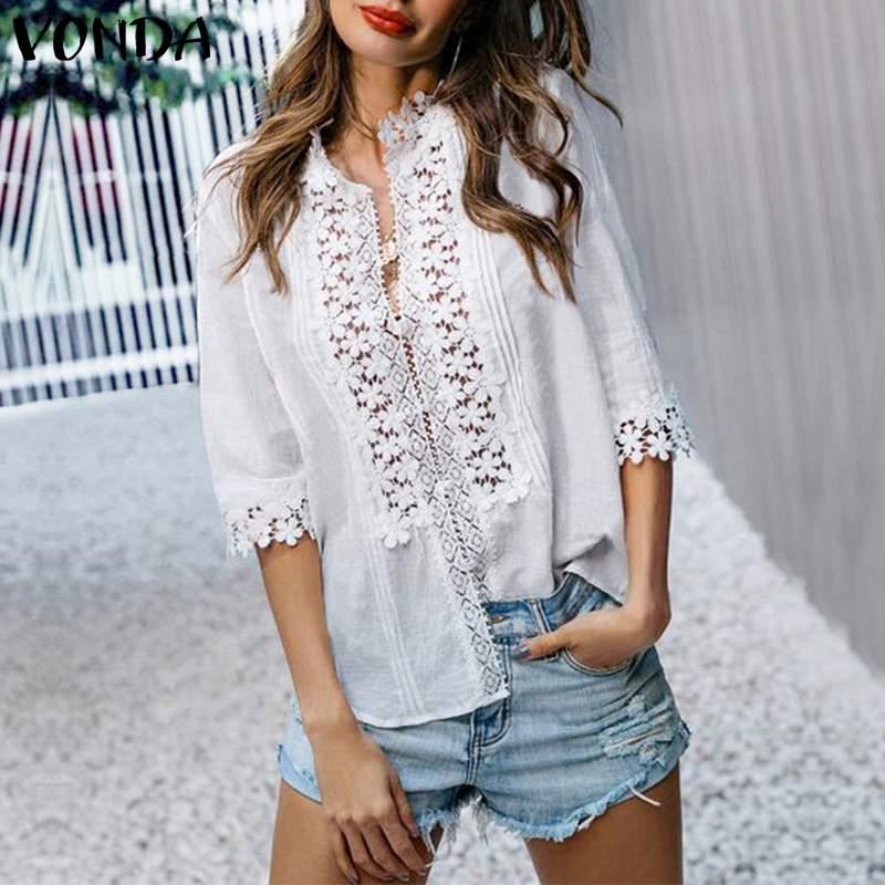VONDA Summer Women Floral Blouses 2020 Vintage Seven Sleeve Sexy V Neck Lace OL Office Shirt Blouse Beach Party Blusas S-5XL