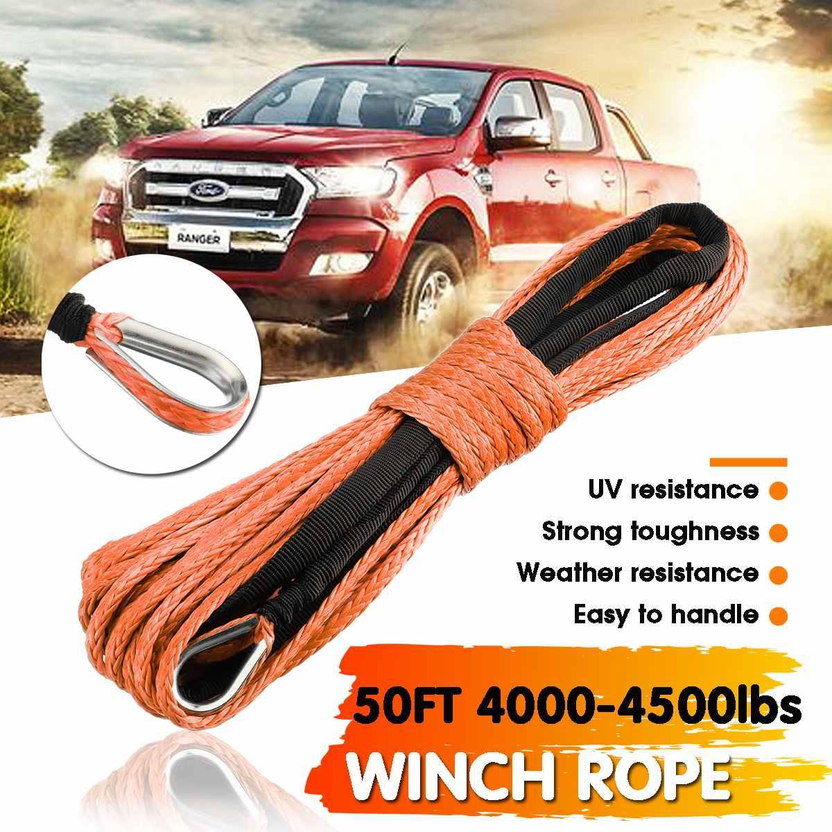 15 m 7700LBs Winde Seil String Linie Kabel Mit Mantel Synthetische Zugseil Auto Waschen Wartung String für ATV UTV off-Road