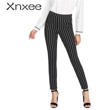 Xnxee Vertical rayé pantalon moulant femmes taille élastique poche OL Style travail pantalon 2020 printemps taille moyenne longue crayon pantalon