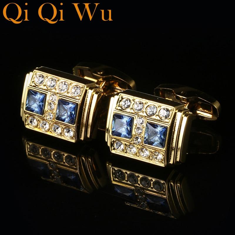 Jewelry French Shirt Cufflinks For Men Designer Brand Blue Crystal Cuff link Button High Quality Luxury Wedding Free Shipping