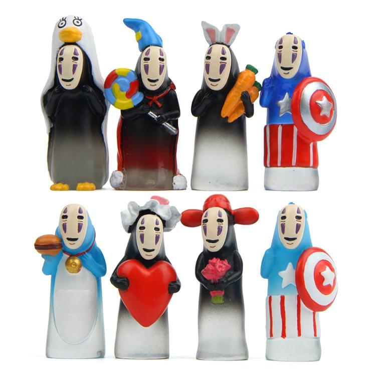 Sin Rostro hombre capitán figura de acción niños juguetes ghideli Miyazaki Hayao Anime resina Mini Set de títeres de dedo figuras de juguete niños muñeca
