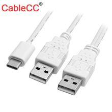 CableCC USB 3.1 Type C USB-C pour doubler un câble de données de puissance supplémentaire mâle pour téléphone portable et disque dur
