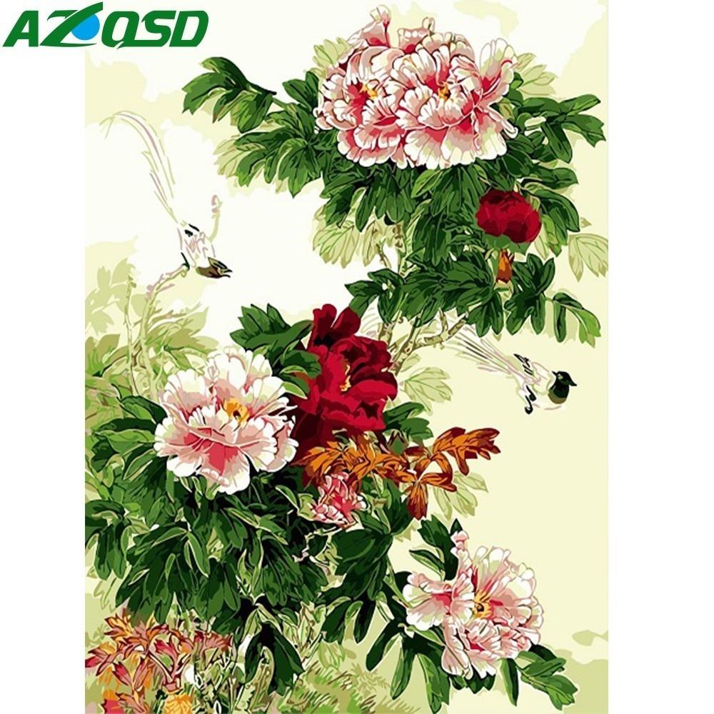 Pintura al óleo por números AZQSD, pintura de flor de peonía, pintura de lienzo, cuadro pintado al óleo, decoración del hogar SZYH6238