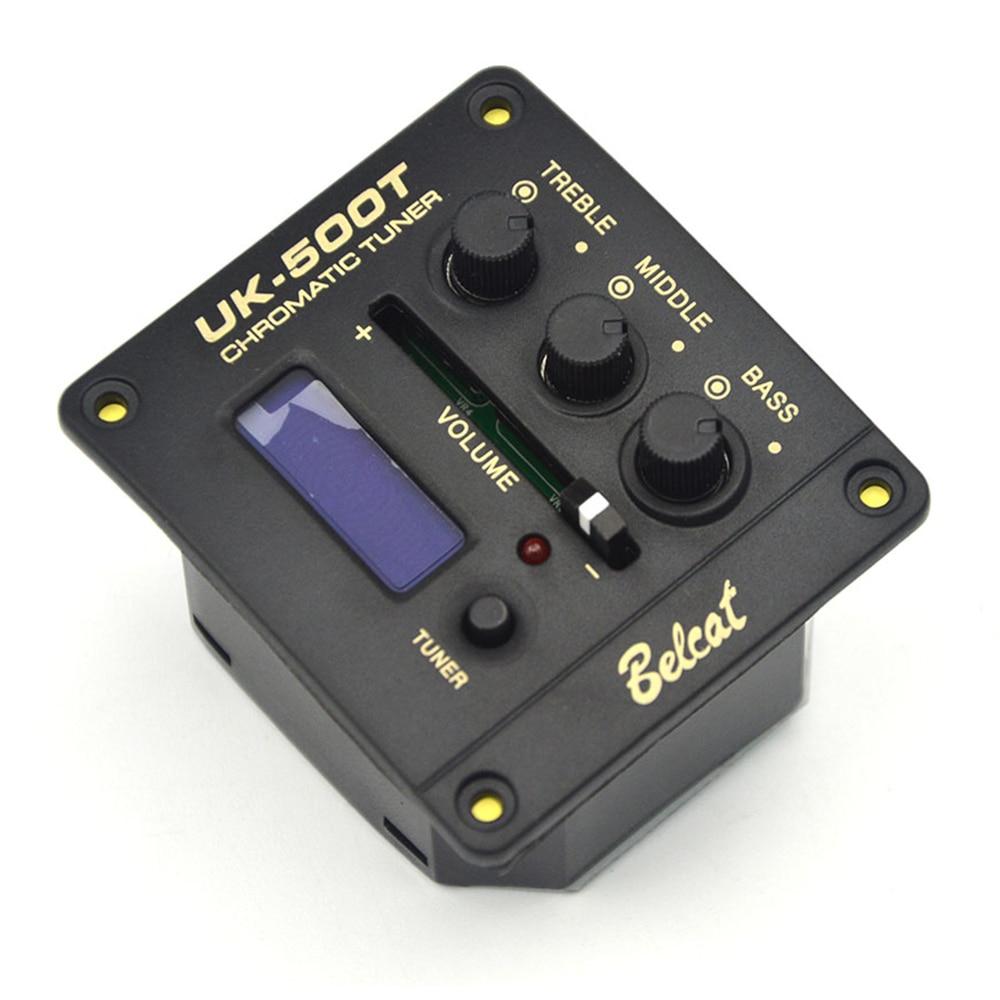 Belcat UK-500T 3 banda EQ pastilla de ukelele y sintonizador 3 banda ecualizador agudos bajo medio Control de volumen sintonizador con pantalla LED