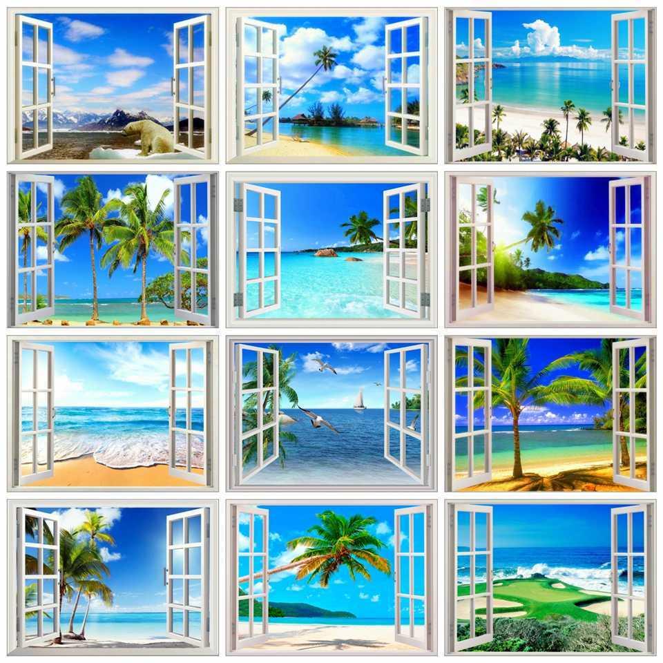 AZQSD Алмазная картина, окно, живописная Алмазная вышивка, пейзаж, продажа 5D, сделай сам, картина, стразы, подарок, настенный Декор для дома