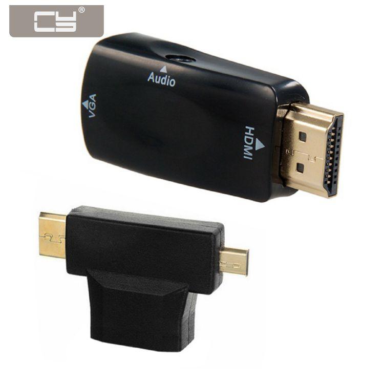 10 unids/lote adaptador Mini y Micro y HDMI a VGA de salida de vídeo con Audio de 3,5mm para Tablet y proyector y Monitor 3 en 1
