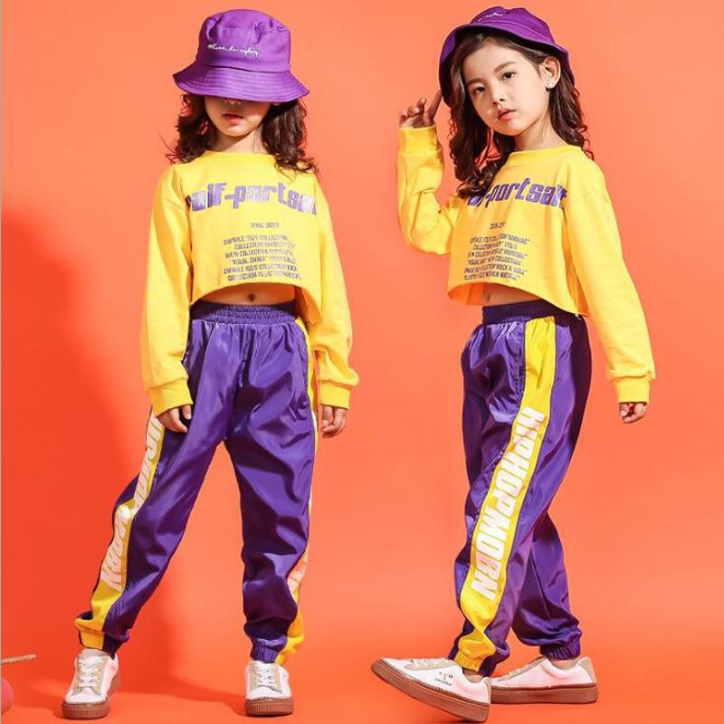 Camiseta recortada de Chico, pantalones de corredor, ropa de Hip Hop, trajes, traje de baile de Jazz para chicas y chicos, traje de fiesta de baile de salón