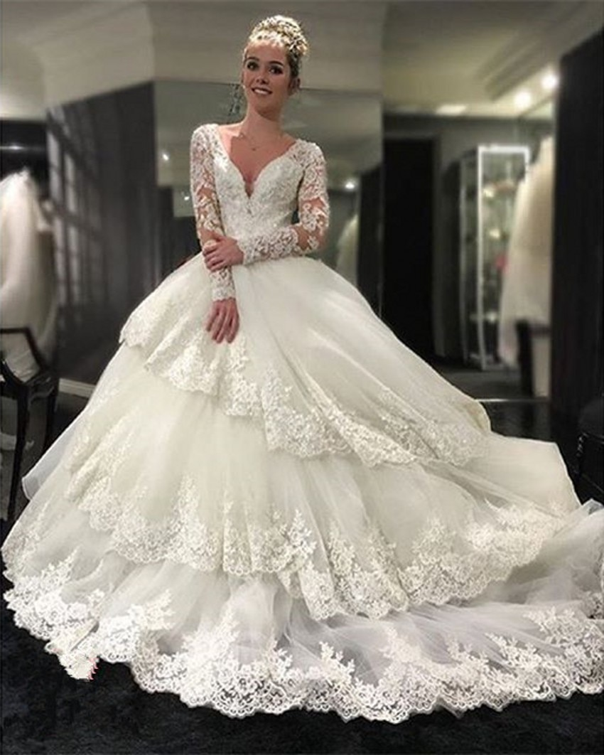 Vintage Layered Lace Wedding Dresses V-neck Long Sleeve Wedding Bridal Gown vestido de noiva barato