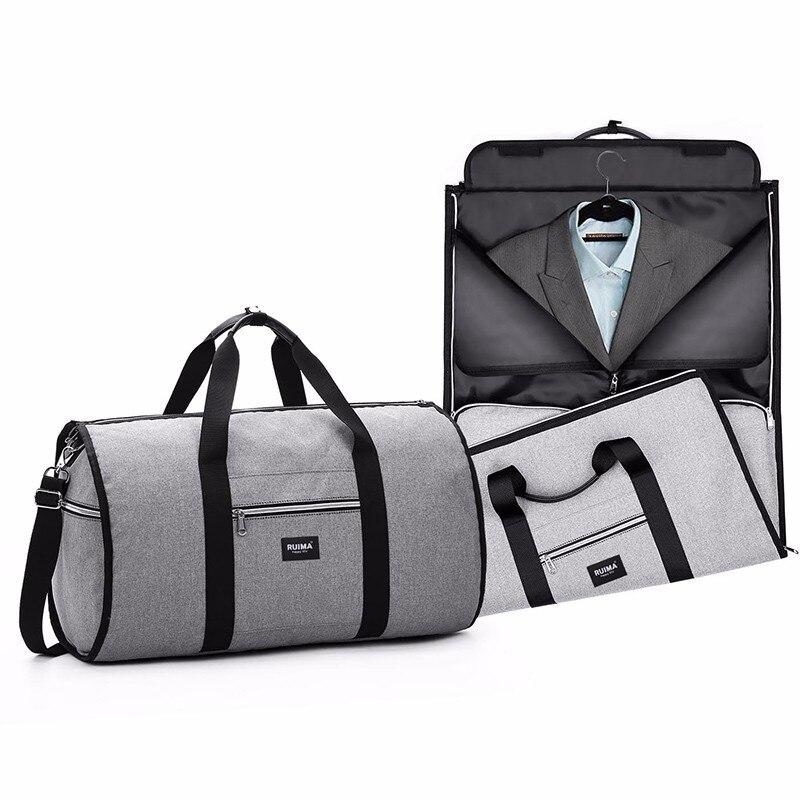 Bolsa de lona de viaje para hombres, bolsa de fin de semana, Maleta, traje, organizador de viaje, bolsa de hombro plegable, equipaje de viaje, Paquete 2 en 1