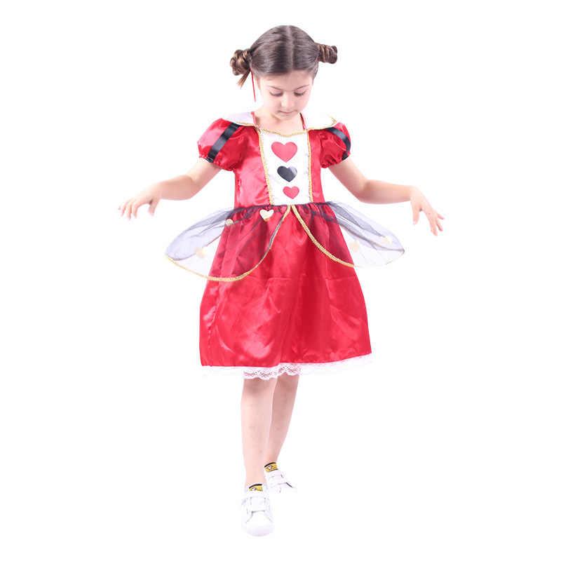 Cosplay disfraz de Halloween de niñas reina de corazones Alicia en el país de las Maravillas