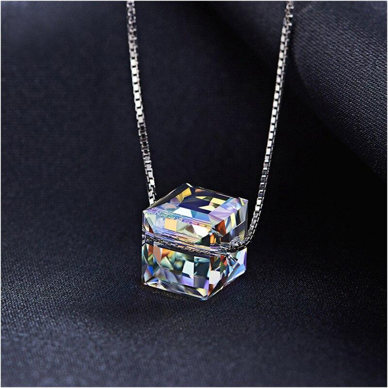 Malanda cristais de swarovski quadrado grânulos pingentes colares para mulheres moda corrente colares festa de casamento jóias