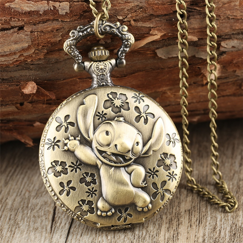 Brozne Cute  Pocket Watch for Children Pendant Necklace Chain Quartz Pocket Clock Gifts for Boys Girls