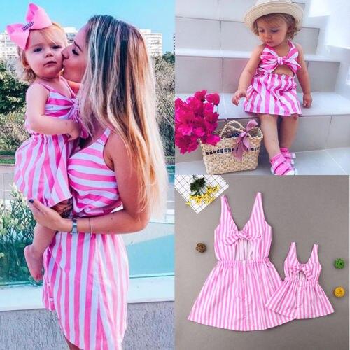 2019 Family Clothes Mother Daughter Women Girl Sleeveless Stripe Bow Dress Sleeveless Summer Mini A Line Dress