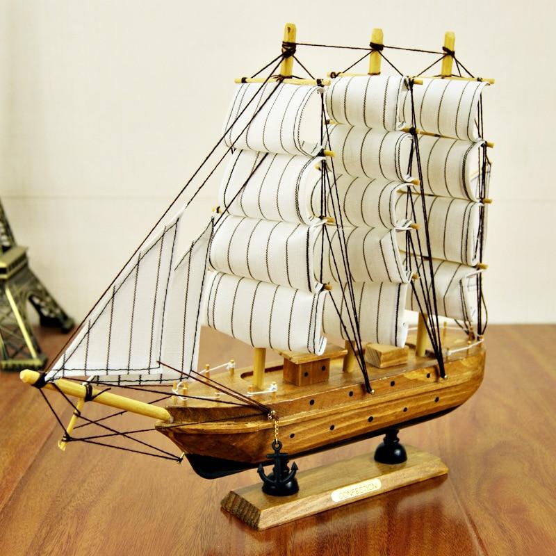 30 cm Ofício Navio De Madeira Barco À Vela Modelo de Madeira Veleiro Náutico Mediterrâneo Puro Manual de Decoração Decoração de Casa