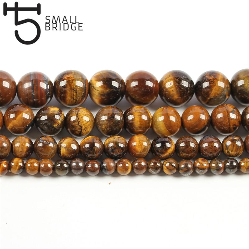6 8 10Mm Natürliche Runde Glatte Tiger Eye Perlen Für Making-Armband Diy Halskette Braun Gold Stein Strang Perlen großhandel S301