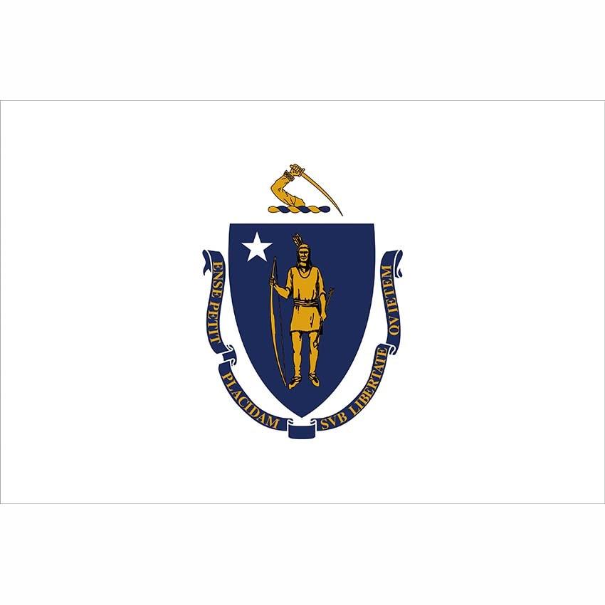 Bandeira do Estado de Massachusetts 3X5FT/2X3FT Estados Interiores Decorativos Bandeiras Banner Personalizado Ao Ar Livre w/2 Níquel Ilhós