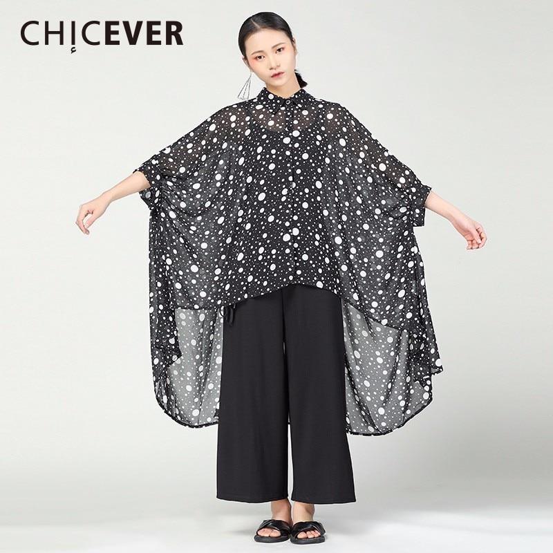 Blusas Chifffon irregulares para mujer de CHICEVER Sping, blusas de media manga, camisas holgadas de lunares de talla grande, ropa informal a la moda