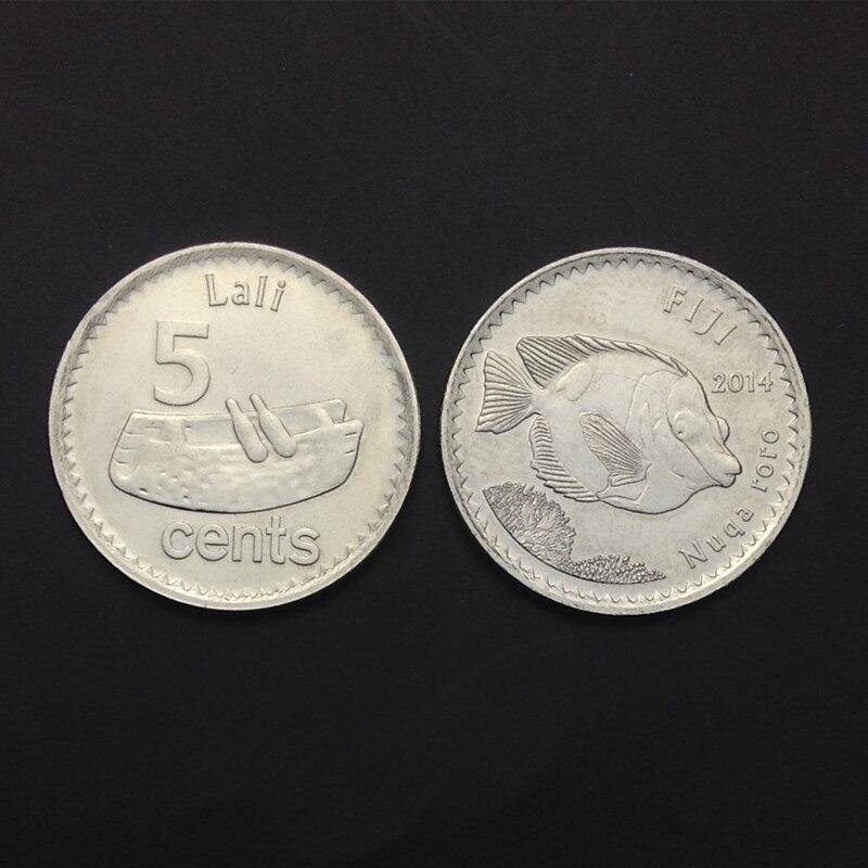 Moneda de Fiyi, 5 centavos, KM #332, 2014, UNC, uncirculed, Oceania, Colección, regalo, 100% monedas auténticas reales