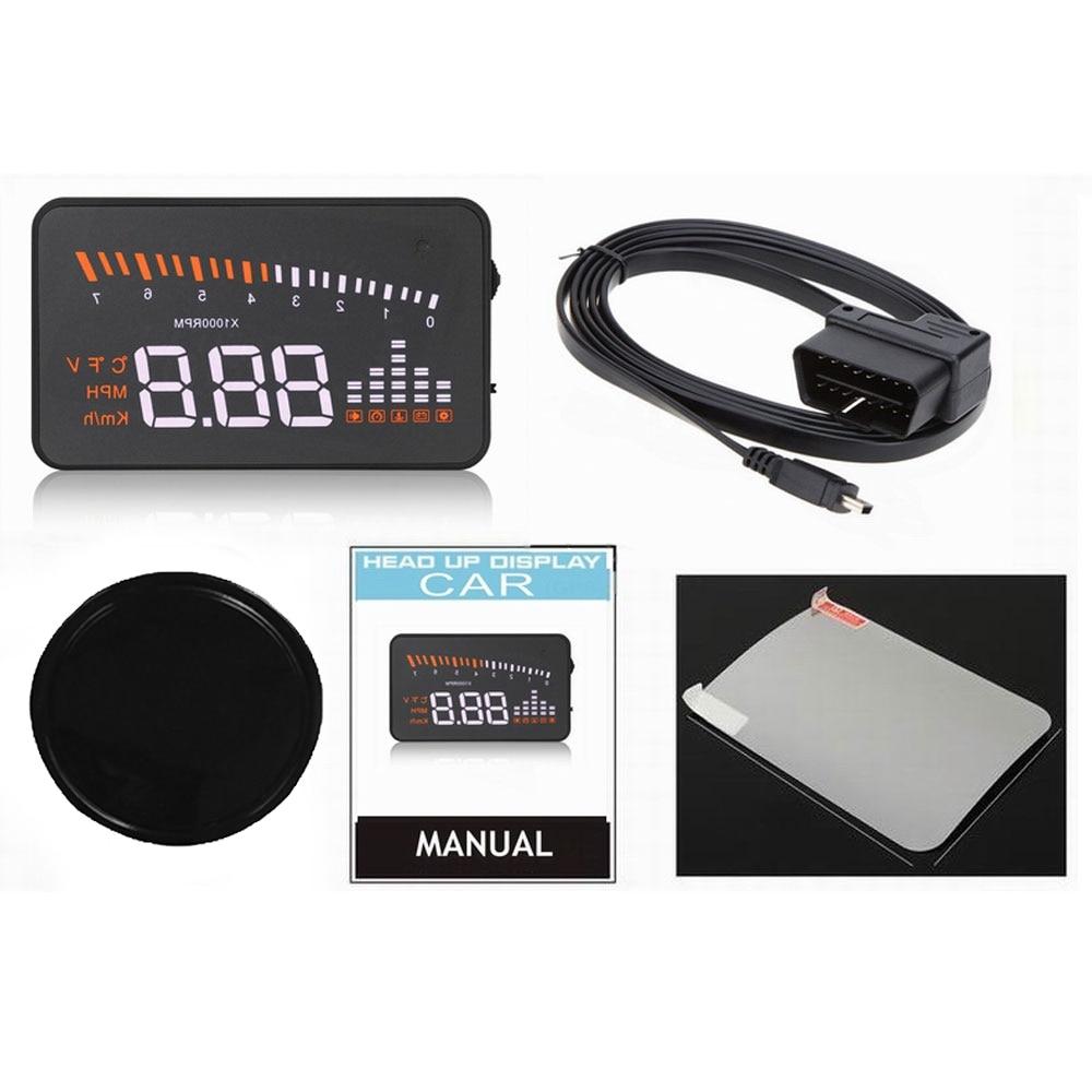 Pantalla de alta definición OBD2 X5 Auto HUD pantalla frontal de coche proyector de velocidad parabrisas Digital pantalla velocímetro a bordo
