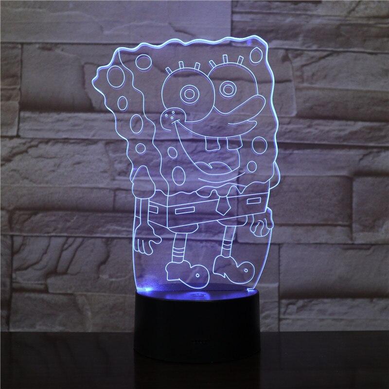 Envío gratis 1 pieza 7 colores que cambian USB carga 3D Bob Esponja Squarepants acrílico LED noche luz luminosa lámpara de mesa regalo 2301
